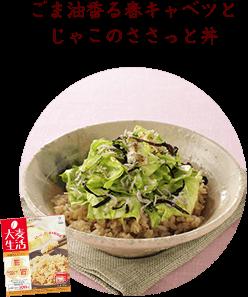 菜の花と豆腐のあんかけ丼 ごま油香る春キャベツとじゃこのささっと丼