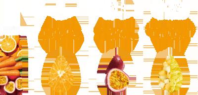 色:オレンジの鮮やかな橙色 香り:パッションフルーツの華やかな香り 食間:かぼちゃ・グレープフルーツのシャキつぶ食感