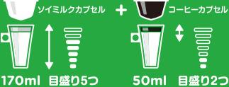 ソイミルクカプセル170ml 目盛り5つ+コーヒーカプセル50ml 目盛り2つ