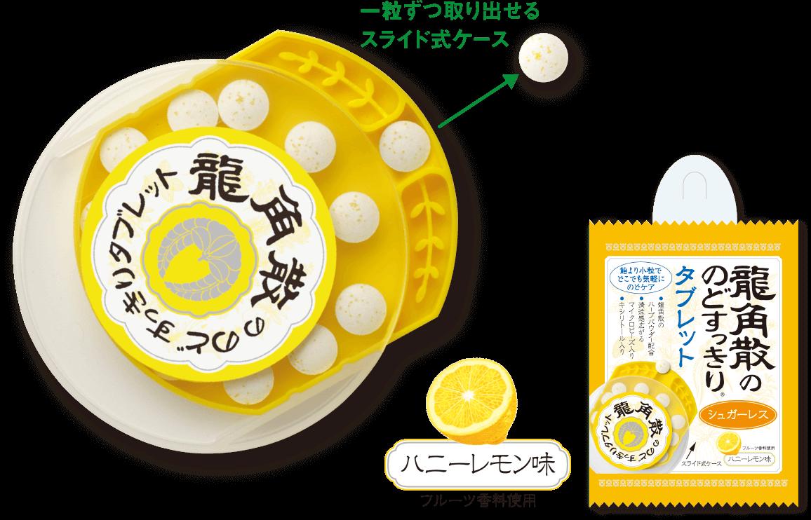 龍角散ののどすっきりタブレット ハニーレモン味 フルーツ香料使用 一粒ずつ取り出せるスライド式ケース