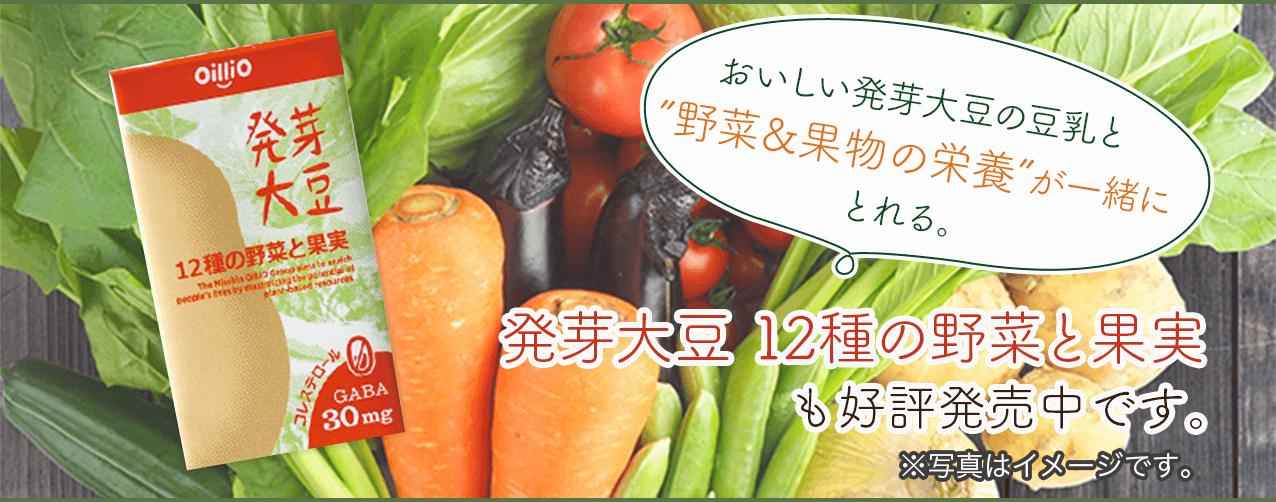 """おいしい発芽大豆の豆乳と """"野菜&果物の栄養""""が一緒にとれる。発芽大豆 12種の野菜と果実 も好評発売中です。 ※写真はイメージです。"""