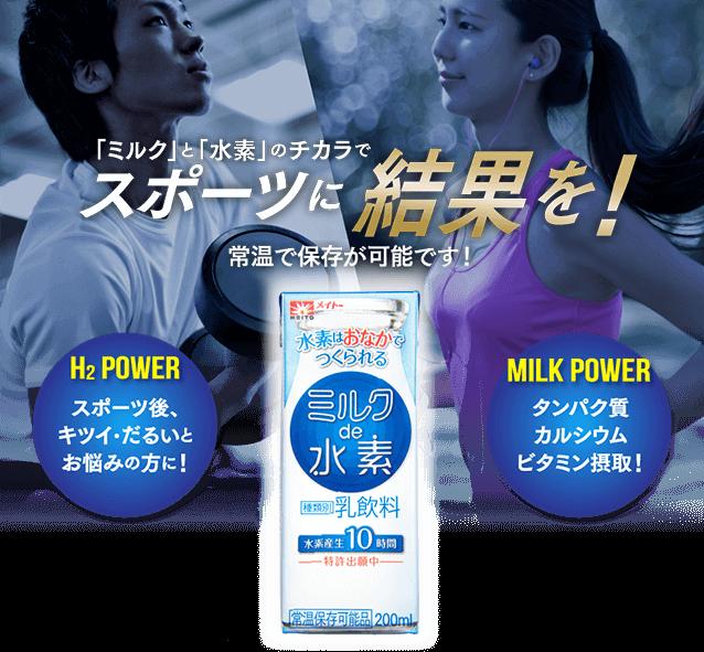 「ミルク」と「水素」のチカラでスポーツに結果を!常温で保存が可能です!H2 POWER スポーツ後、キツイ・だるいとお悩みの方に!MILK POWER タンパク質 カルシウム ビタミン摂取!