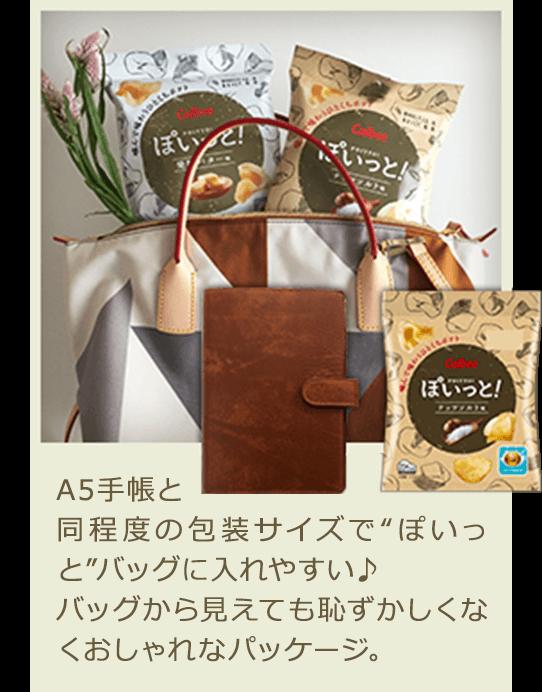 """A5手帳と同程度の包装サイズで""""ぽいっと""""バッグに入れやすい♪ バッグから見えても恥ずかしくなくおしゃれなパッケージ。"""