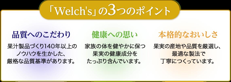 「Welch's」の3つのポイント 品質へのこだわり 健康への思い 本格的なおいしさ