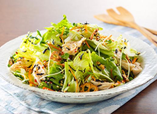 サラダチキンとレタスの京風ゆずサラダ