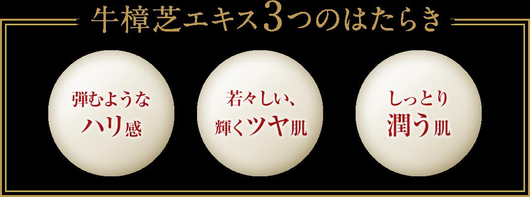 牛樟芝エキス3つのはたらき 弾むようなハリ感 若々しい、輝くツヤ肌 しっとり潤う肌