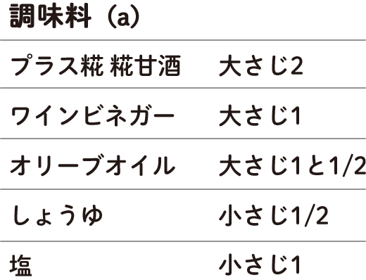 (a) プラス糀 糀甘酒 大さじ2 ワインビネガー 大さじ1 オリーブオイル 大さじ1と1/2 しょうゆ 小さじ1/2 塩 小さじ1/2