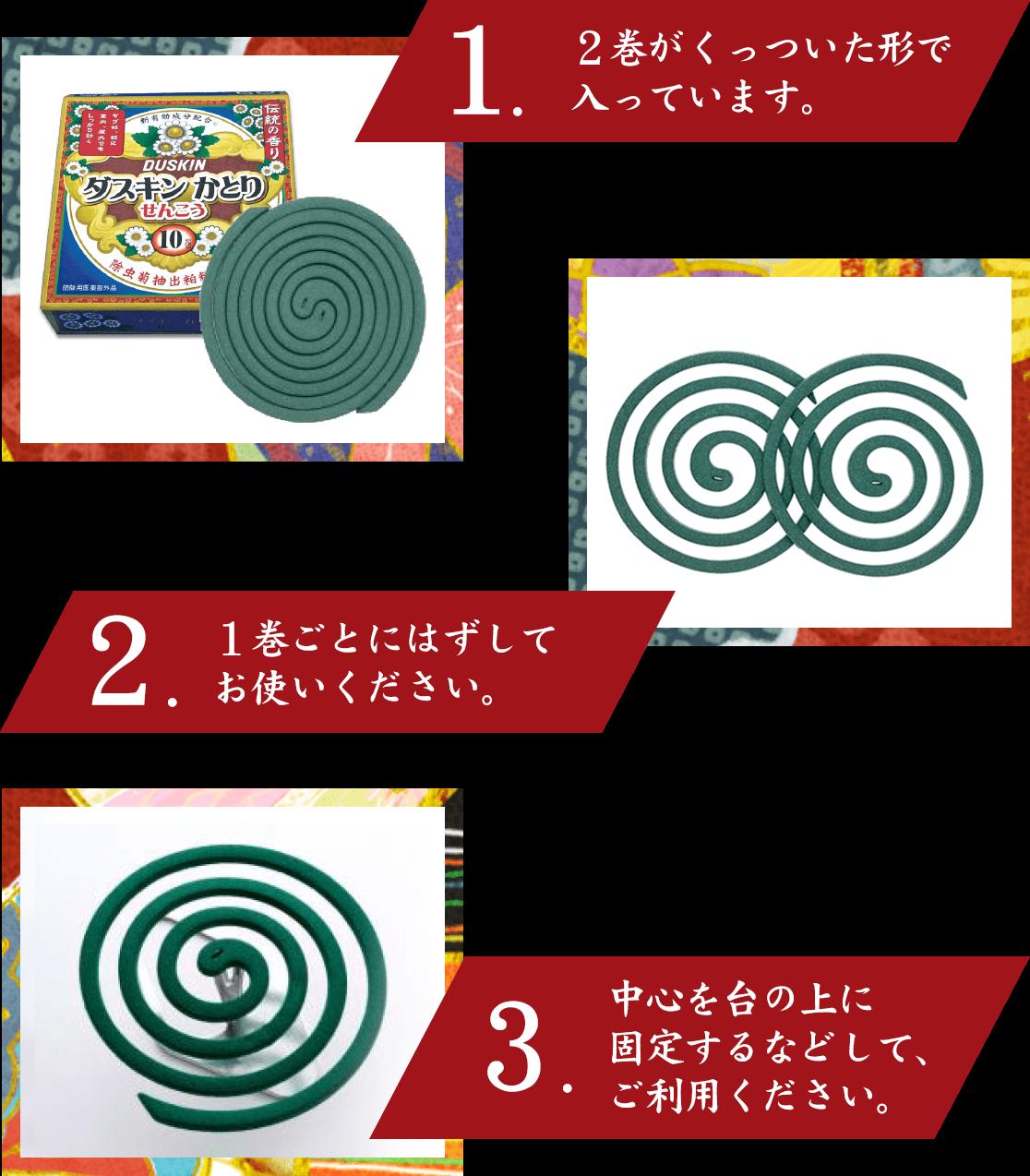 1,2巻がくっついた形で入っています。2,1巻ごとにはずしてお使いください。3,中心を台の上に固定するなどして、ご利用ください。
