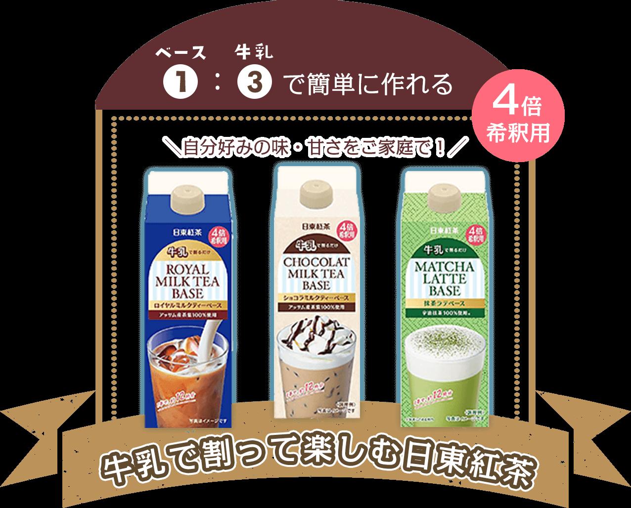 ベース1:牛乳3で簡単に作れる 自分好みの味・甘さで! 牛乳で割って楽しむ日東紅茶 4倍希釈用
