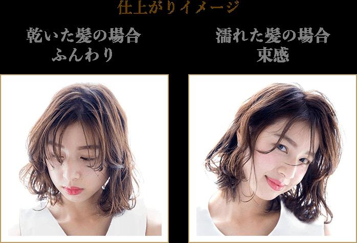 仕上がりイメージ 乾いた髪の場合 ふんわり 濡れた髪の場合 束感