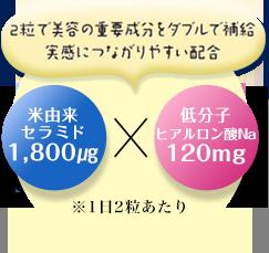 2粒で美容mの重要成分をダブルで補給