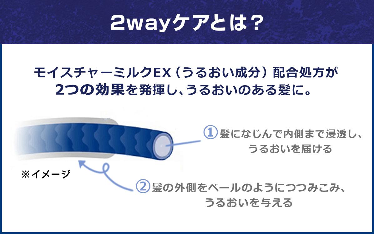 2wayケアとは? モイスチャーミルクEX(うるおい成分)配合処方が2つの効果を発揮し、うるおいのある髪に。