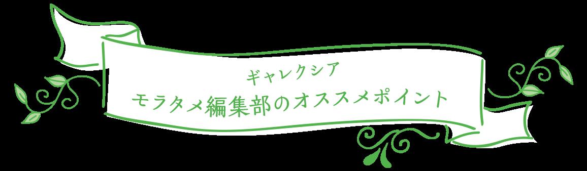 ギャレクシア モラタメ編集部のオススメポイント