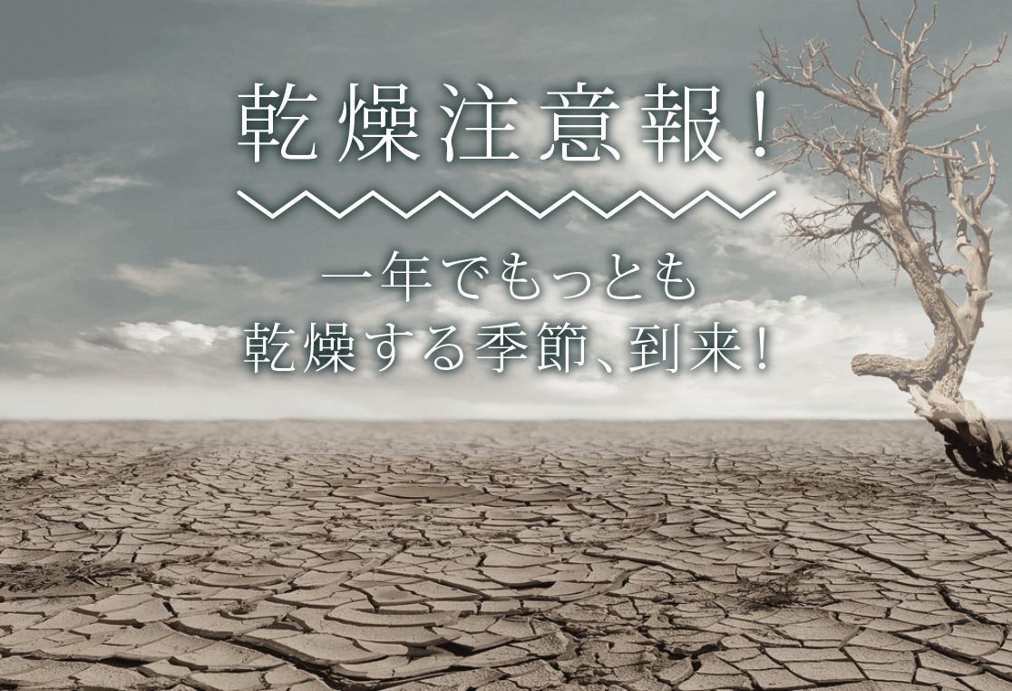 乾燥注意報!一年でもっとも乾燥する季節、到来!