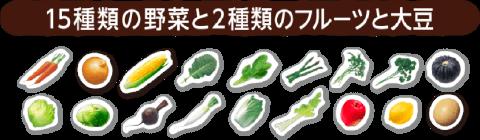 15種類の野菜と2種類のフルーツと大豆