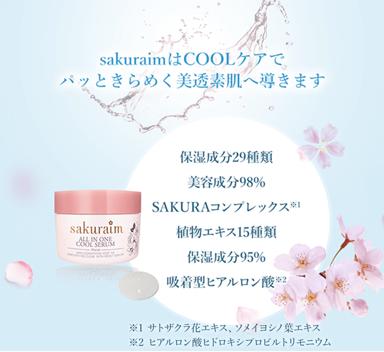 sakuraimはCOOLケアでパッときらめく美透素肌へ導きます 美容成分23種類 美容成分96.5% SAKURAコンプレックス※1 植物エキス15種類 保湿成分22種類 吸着型ヒアルロン酸※2