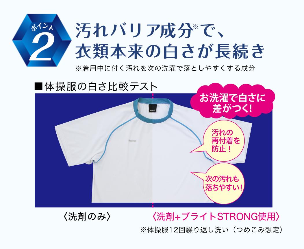 ポイント2汚れバリア成分で、衣類本来の白さが長続き