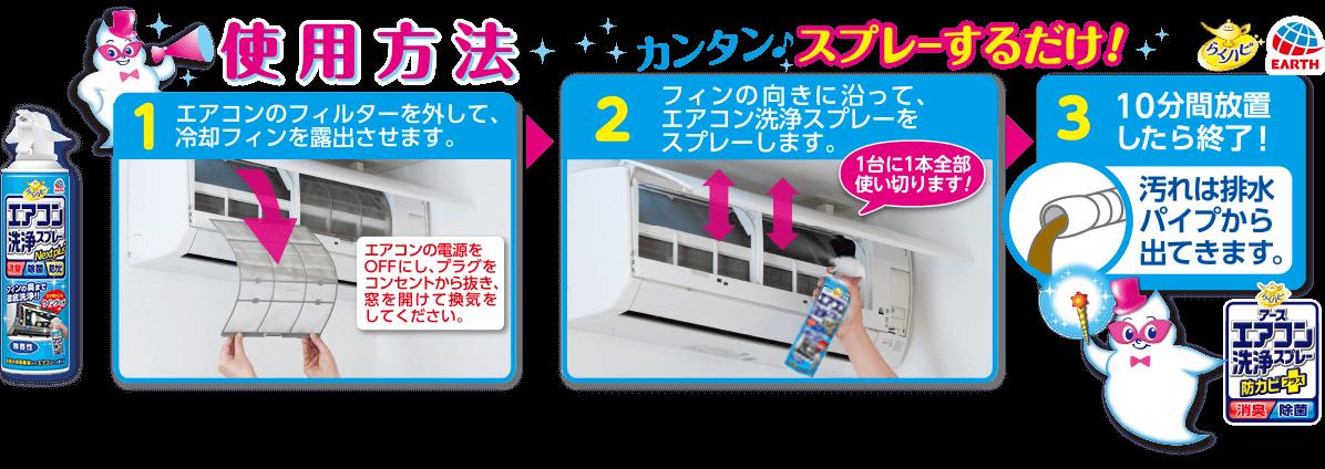 らくハピ アースエアコン洗浄スプレー 防カビプラス 使い方