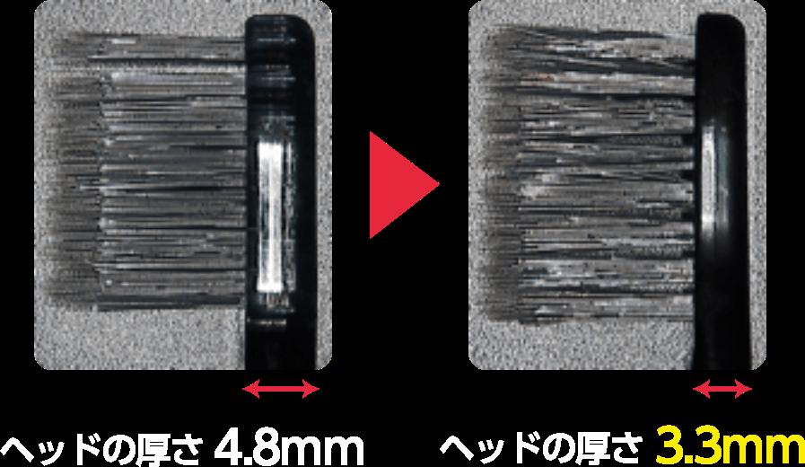 ヘッドの厚さ 4.8mm→ヘッドの厚さ 3.3mm