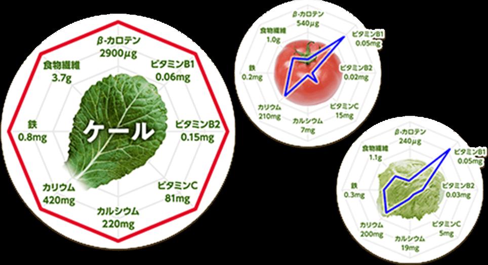 ケール・トマト・レタス栄養素比較図