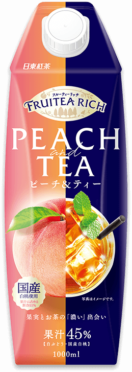「日東紅茶 フルーティーリッチ ピーチ&ティー 1L」商品イメージ