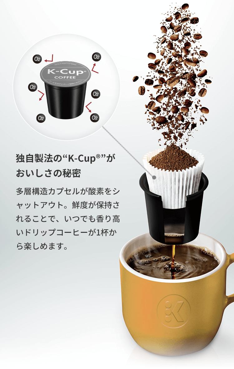 """独自製法の""""K-Cup®""""がおいしさの秘密 多層構造カプセルが酸素をシャットアウト。鮮度が保持されることで、いつでも香り高いドリップコーヒーが1杯から楽しめます。"""
