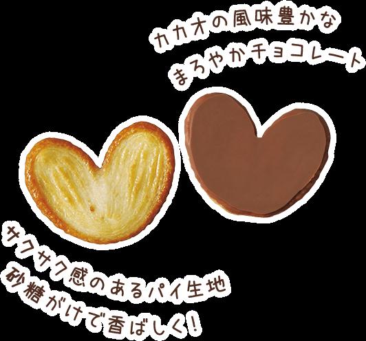 カカオの風味豊かなまろやかチョコレート サクサク感のあるパイ生地! 砂糖がけで香ばしく!