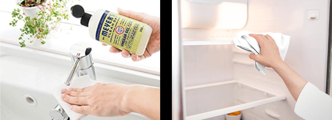 蛇口と冷蔵庫内を掃除するイメージ写真