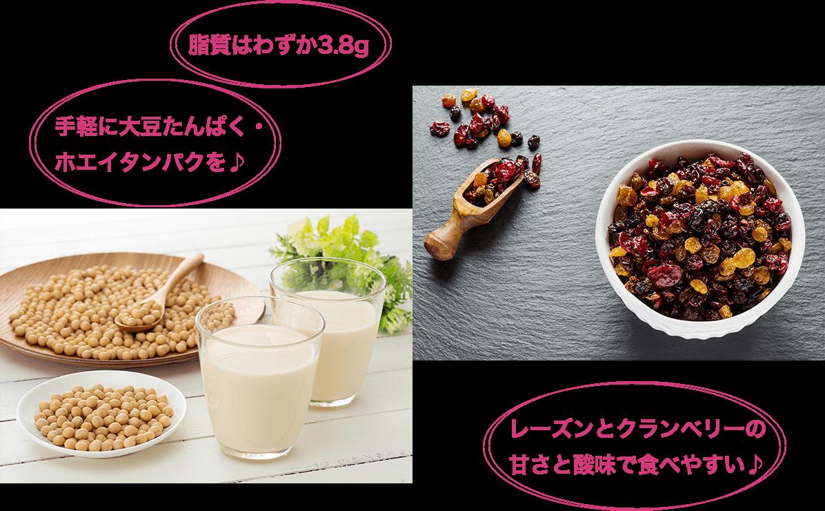 手軽に大豆たんぱく・ ホエイタンパクを♪ 脂質はわずか3.8g レーズンとクランベリーの 甘さと酸味で食べやすい♪