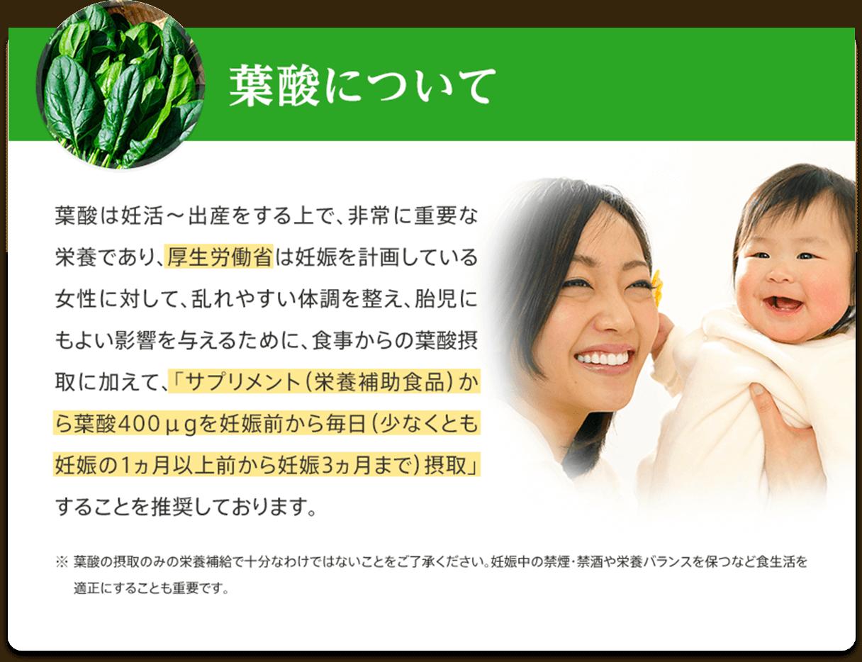葉酸について 葉酸は妊活〜出産をする上で、非常に重要な栄養であり、厚生労働省は妊娠を計画している女性に対して、乱れやすい体調を整え、胎児にもよい影響を与えるために、食事からの葉酸摂取に加えて、「サプリメント(栄養補助食品)から葉酸400μgを妊娠前から毎日(少なくとも妊娠の1ヵ月以上前から妊娠3ヵ月まで)摂取」することを推奨しております。