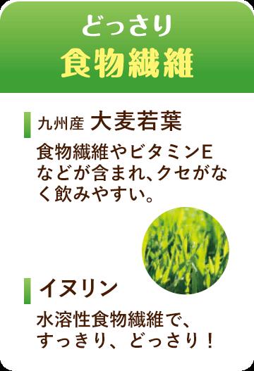 どっさり食物繊維 九州産 大麦若葉 食物繊維やビタミンEなどが含まれ、クセがなく飲みやすい。 イヌリン 水溶性食物繊維で、すっきり、どっさり!