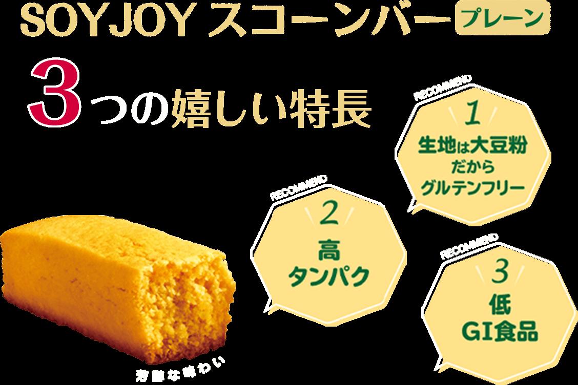 SOYJOYスコーンバー 3つのうれしい特長 1、生地は大豆粉だからグルテンフリー 2、高タンパク 3、低GI食品