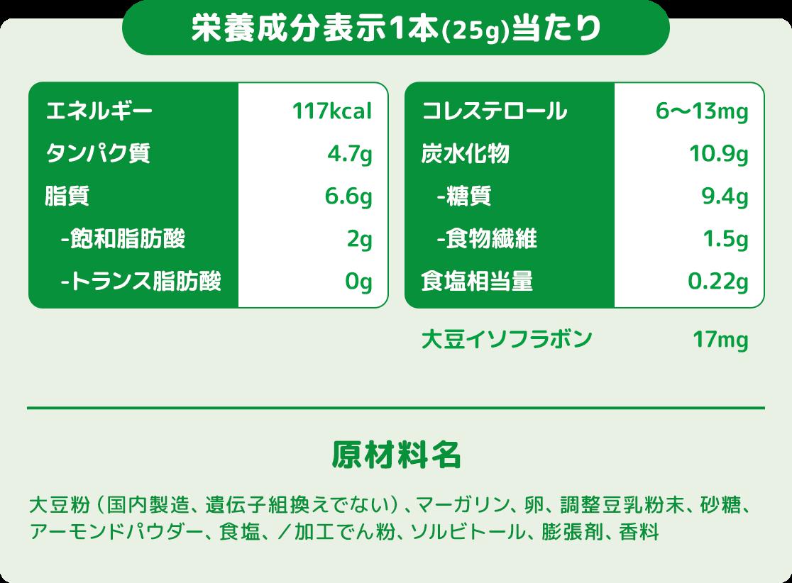 栄養成分表示1本(25g)当たり 原材料名 大豆粉(国内製造、遺伝子組換えでない)、マーガリン、卵、調整豆乳粉末、砂糖、アーモンドパウダー、食塩、/加工でん粉、ソルビトール、膨張剤、香料