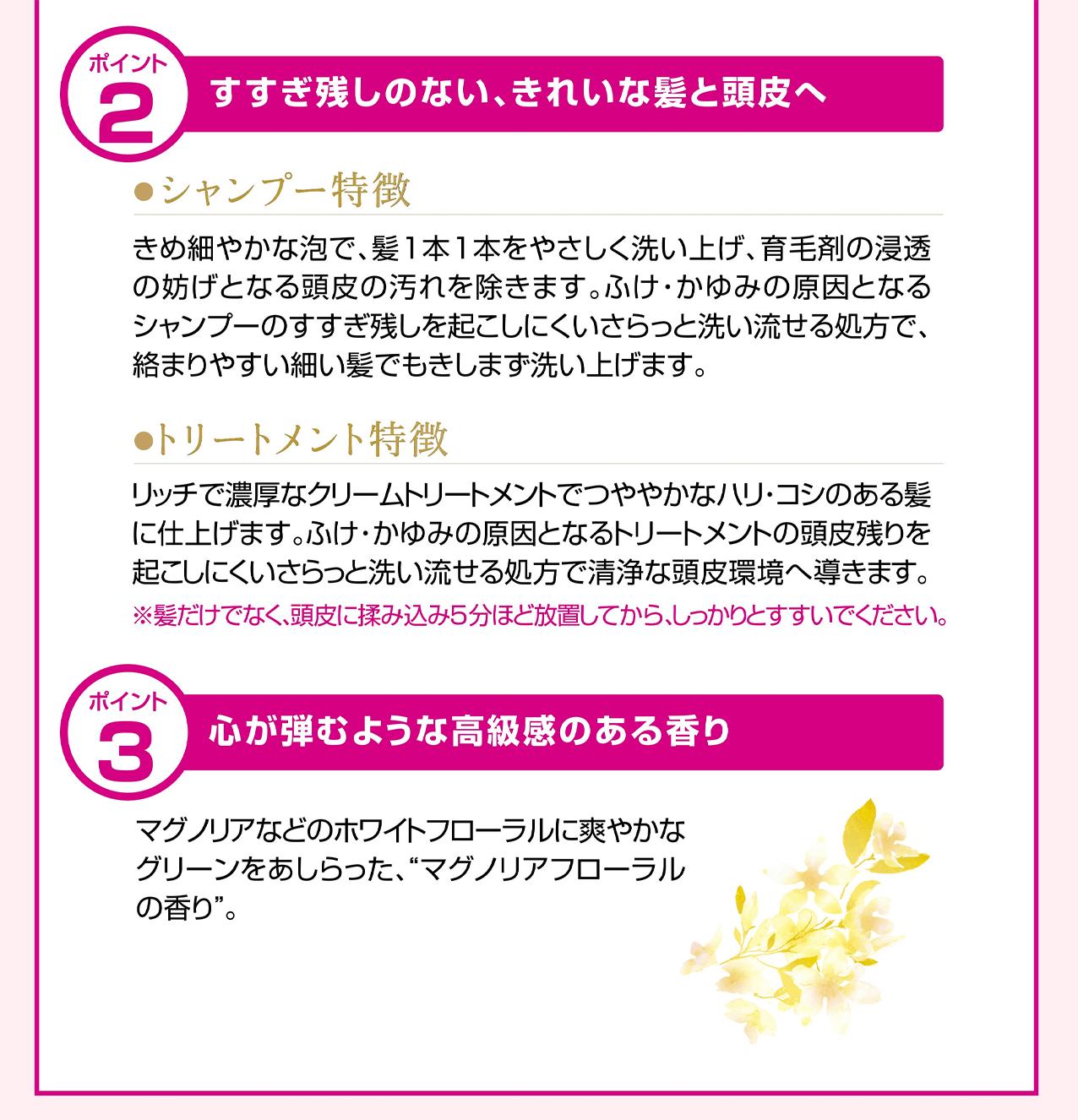 商品特徴2, 3