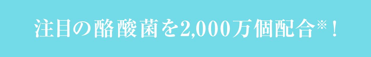 注目の酪酸菌を2,000万個配合※!