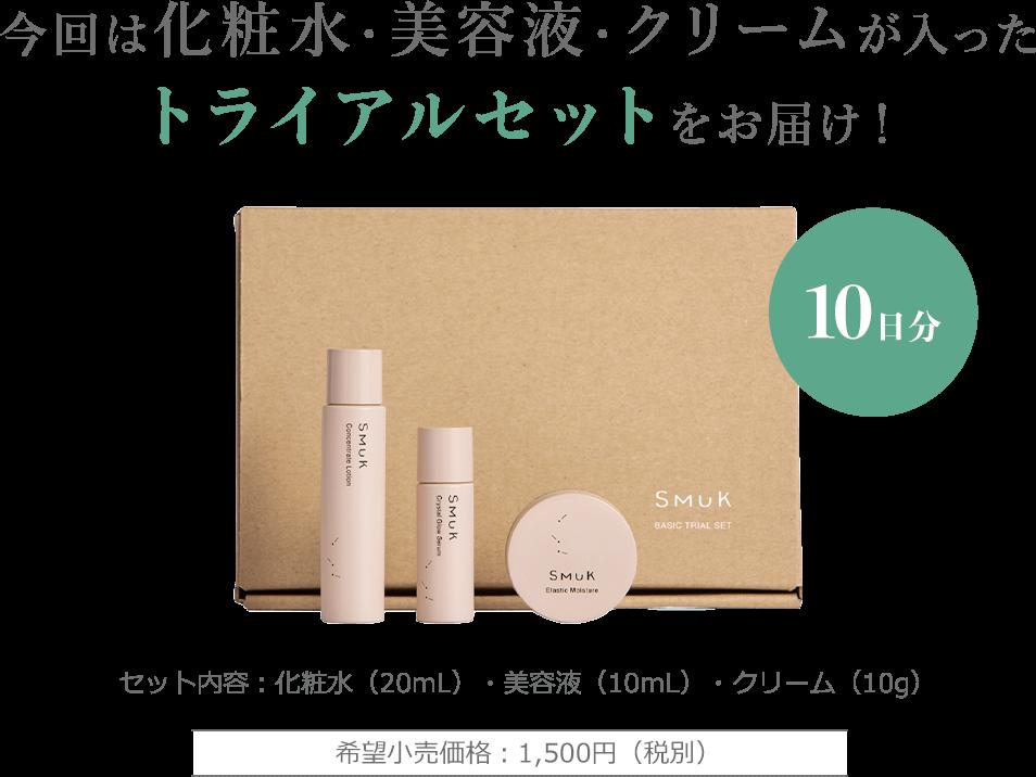今回は化粧水・美容液・クリームが入ったトライアルセットをお届け! 10日分 希望小売価格:1,500円(税別)セット内容:化粧水(20mL)・美容液(10mL)・クリーム(10g)