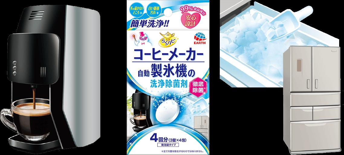 コーヒーメーカー、冷蔵庫の自動製氷機の両方に使える洗浄除菌剤  商品イメージ