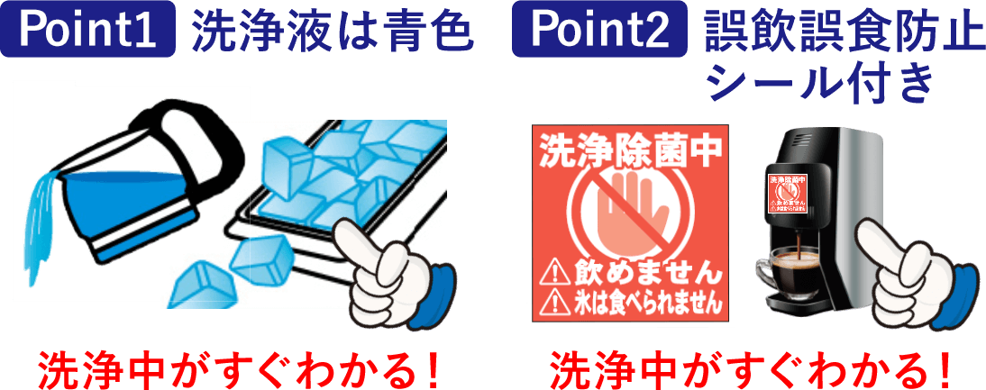point1 洗浄液は青色   point2 誤飲誤食防止 シール付き