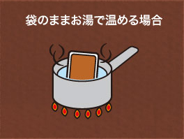 袋のままお湯で温める場合