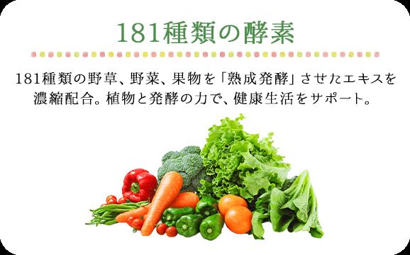 181種類の酵素 181種類の野草、野菜、果物を「熟成発酵」させたエキスを濃縮配合。植物と発酵の力で、健康生活をサポート。