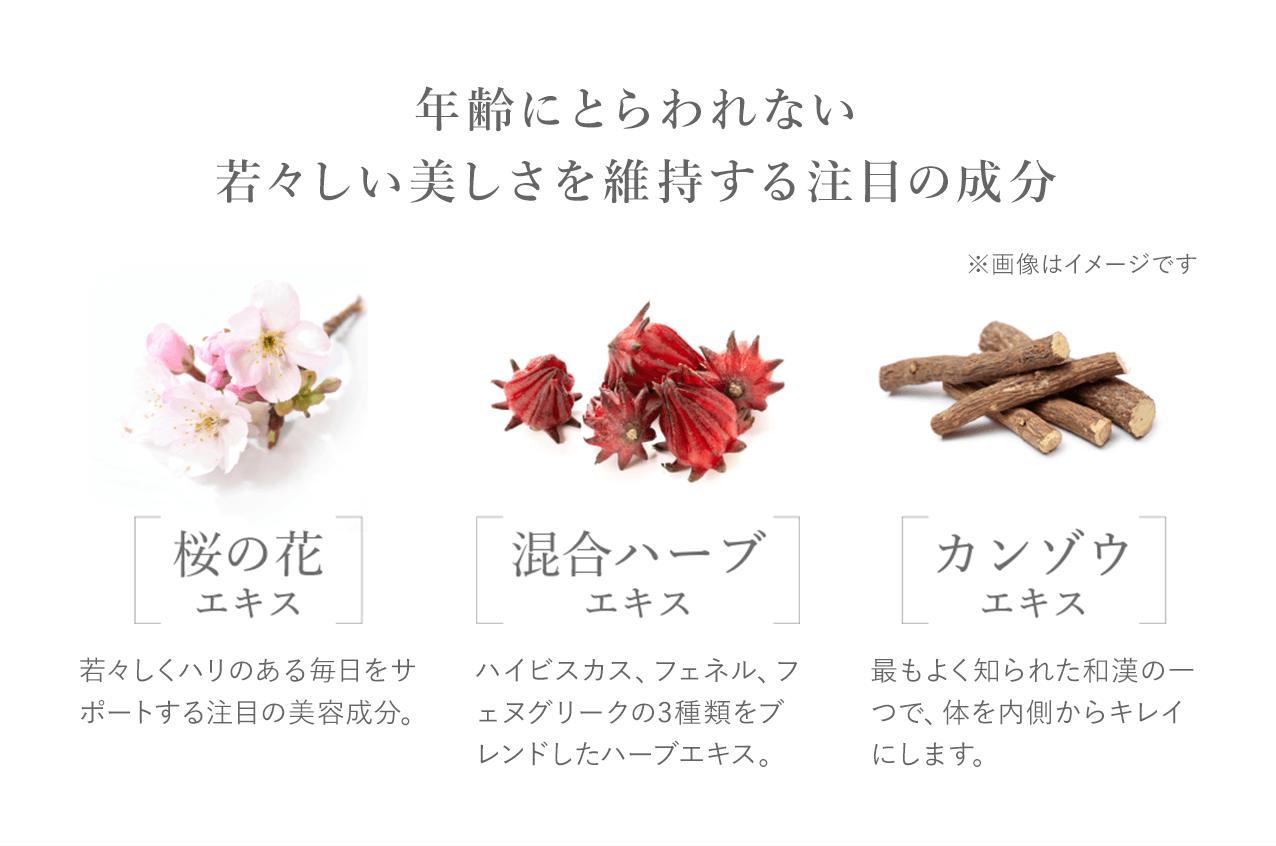 年齢にとらわれない若々しい美しさを維持する注目の成分 ※画像はイメージです 桜の花エキス 若々しくハリのある毎日をサポートする注目の美容成分。 混合ハーブエキス ハイビスカス、フェネル、フェヌグリークの3種類をブレンドしたハーブエキス。 カンゾウエキス 最もよく知られた和漢の一つで、体を内側からキレイにします。