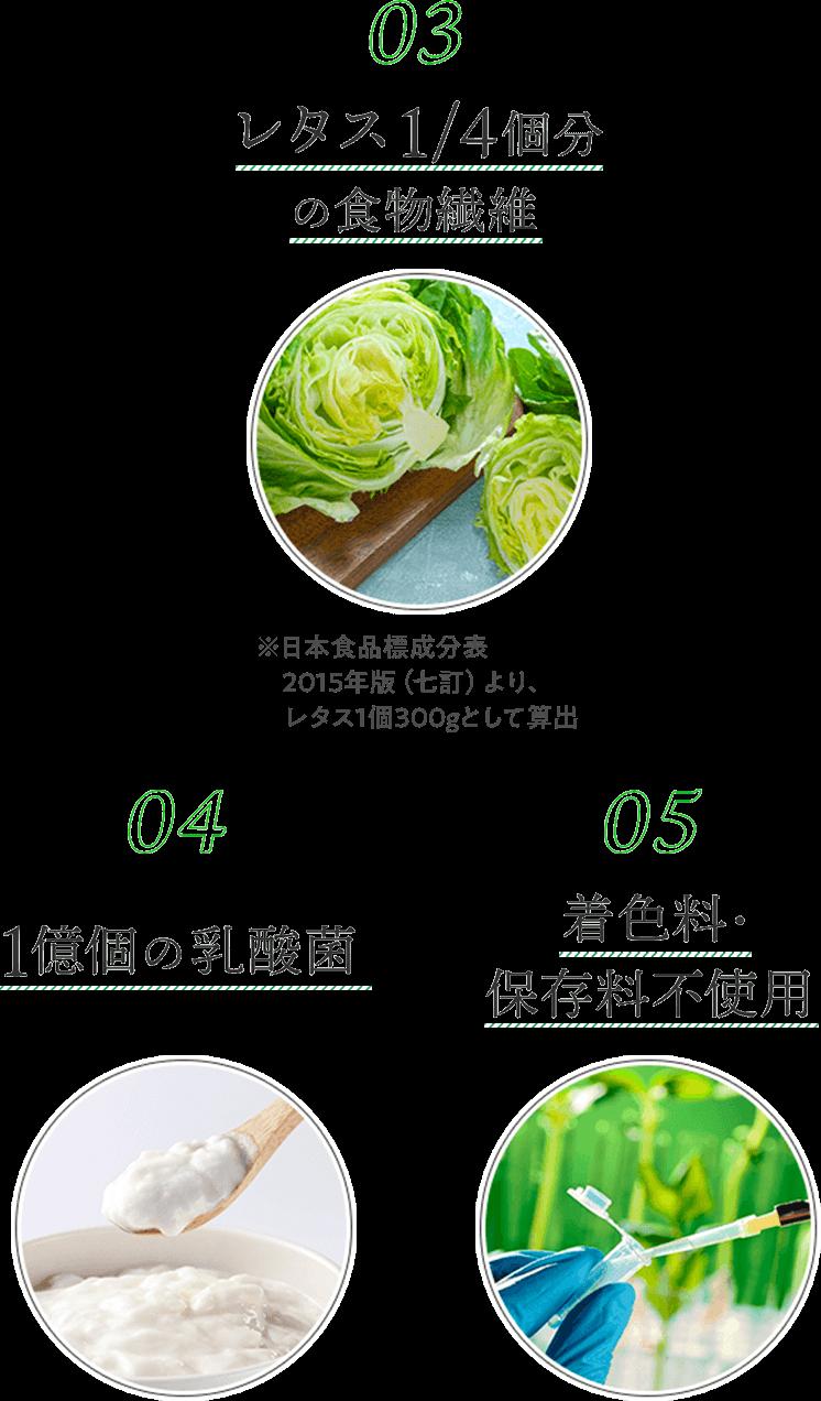 レタス1/4個分の食物繊維、1億個の乳酸菌、着色料・保存料不使用