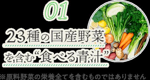 23種の国産野菜を含む「食べる青汁」※原料野菜の栄養全てを含むものではありません