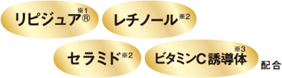 リピジュア®️*1、レチノール*2、セラミド*2、ビタミンC誘導体*3 配合