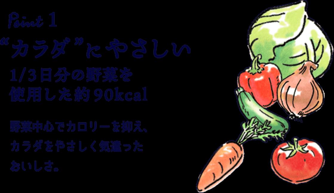 """Point1 """"カラダ""""にやさしい1/3日分の野菜を使用した約90kcal野菜中心でカロリーを抑え、カラダをやさしく気遣ったおいしさ。"""