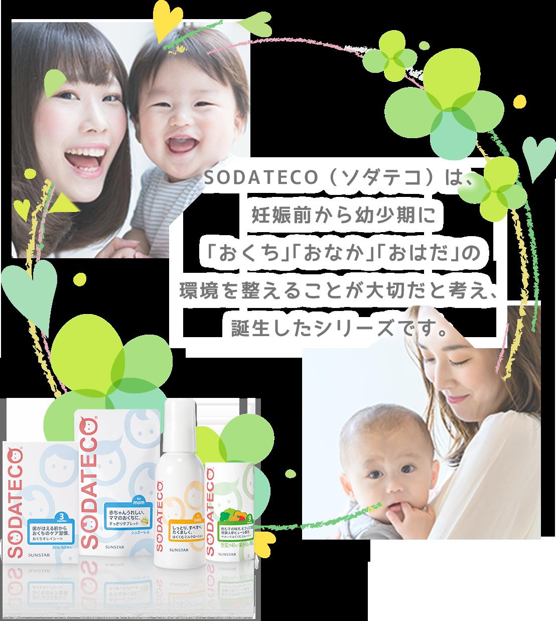 SODATECO(ソダテコ)は、妊娠前から幼少期に「おくち」「おなか」「おはだ」の環境を整えることが大切だと考え、誕生したシリーズです。