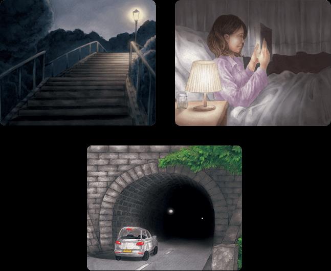 夜道、暗い部屋で本を読む人