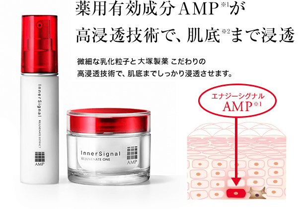 薬用有効成分AMP※2がナノ化&高浸透技術で、肌底※5まで浸透