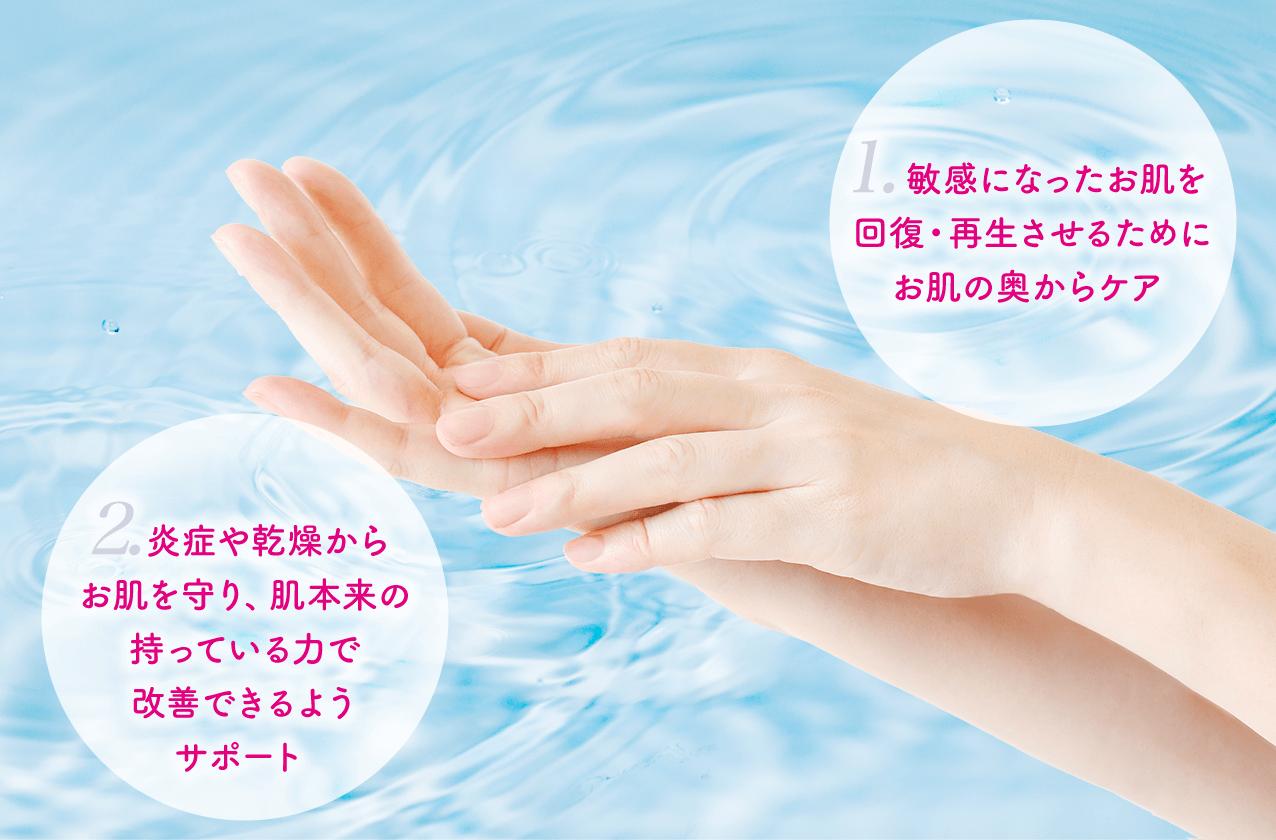 1. 敏感になったお肌を回復・再生させるためにお肌の奥からケア 2.炎症や乾燥からお肌を守り、肌本来の持っている力で改善できるようサポート