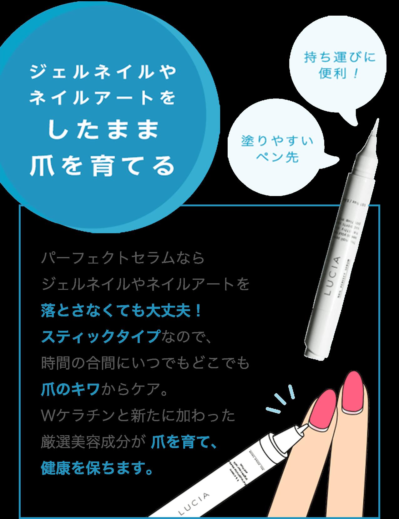 ジェルネイルやネイルアートをしたまま爪を育てる         「塗りやすいペン先」「持ち運びに便利!」         パーフェクトセラムならジェルネイルやネイルアートを落とさなくても大丈夫!スティックタイプなので、時間の合間にいつでもどこでも爪のキワからケア。Wケラチンと新たに加わった厳選美容成分が 爪を育て、健康を保ちます。